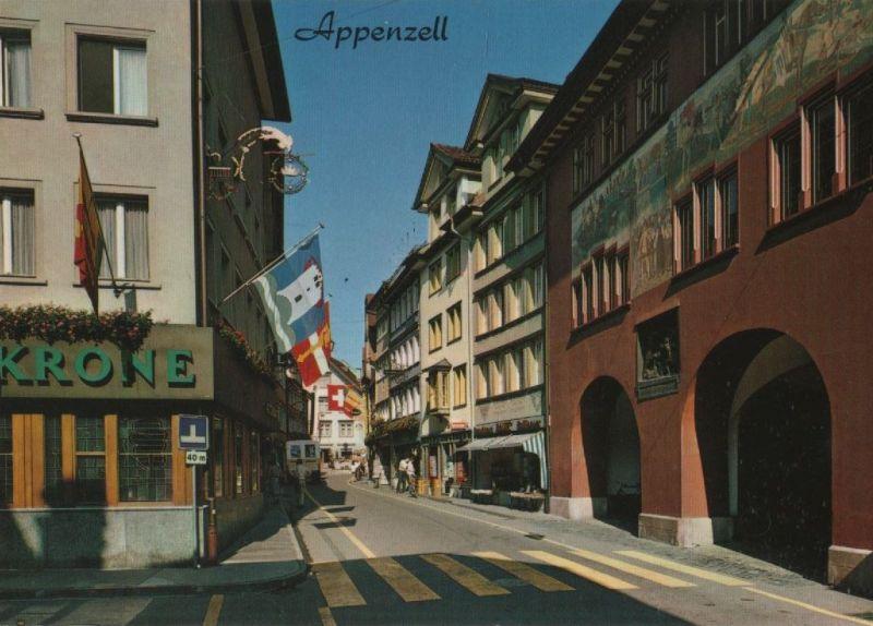 Schweiz - Schweiz - Appenzell - Hauptgasse mit Rathaus - 1987