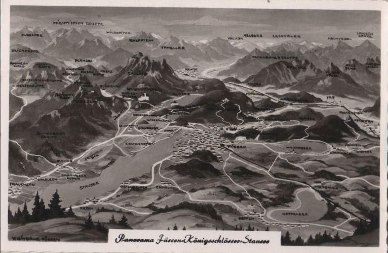 Füssen - Königsschlösser - Übersichtskarte - ca. 1960 0