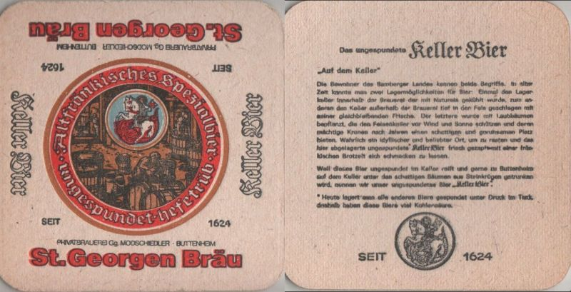 Bierdeckel quadratisch - St. Georgen Bräu, Buttenheim 0