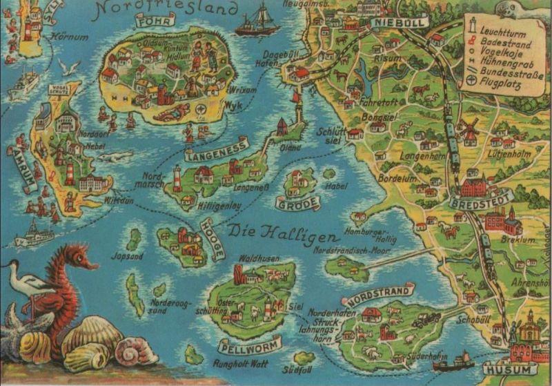 Nordfriesische Inseln Karte.Nordfriesische Inseln Ubersichtskarte Ca 1975
