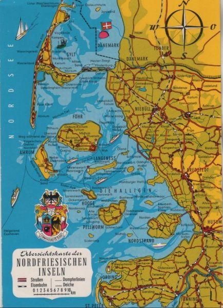 Nordfriesische Inseln Karte.Nordfriesische Inseln Ubersichtskarte 1968