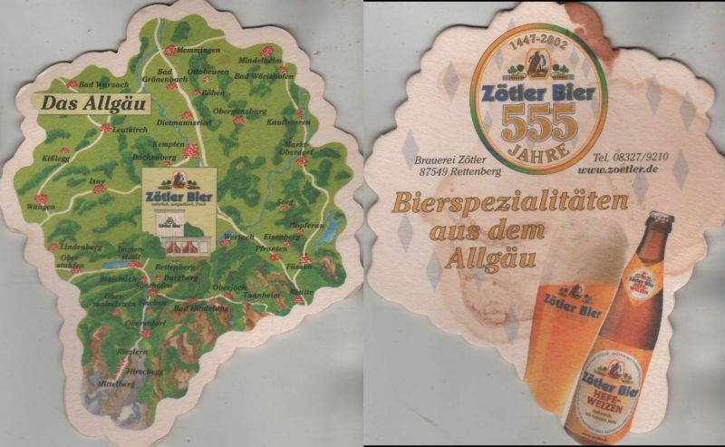 Bierdeckel Sonderform - Zötler Bier