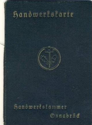 Handwerkskarte von 1935 aus Nordhorn (AG 038)