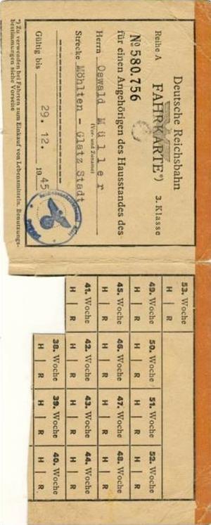 Deutsche Reichsbahn von 1945 Fahrkarte - Strecke Möhlen nach Glatz Stadt  (28999-62)