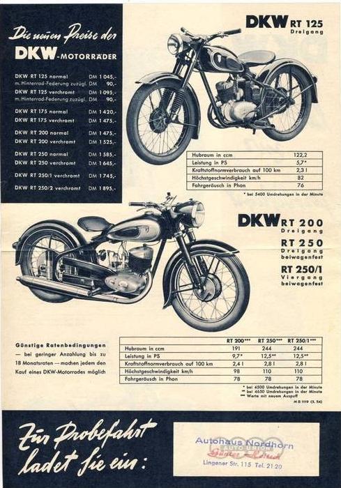 werbezettel v 1955 dkw rt 250 2 32517 7 nr 142297507. Black Bedroom Furniture Sets. Home Design Ideas
