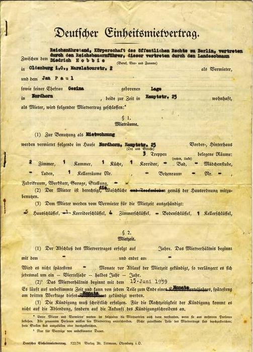Deutscher Einheitsmietvertrag von 1939   (AG-030)