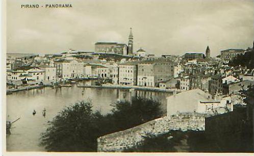Pirano v.1925 Teil-Stadt-Ansicht (17568)