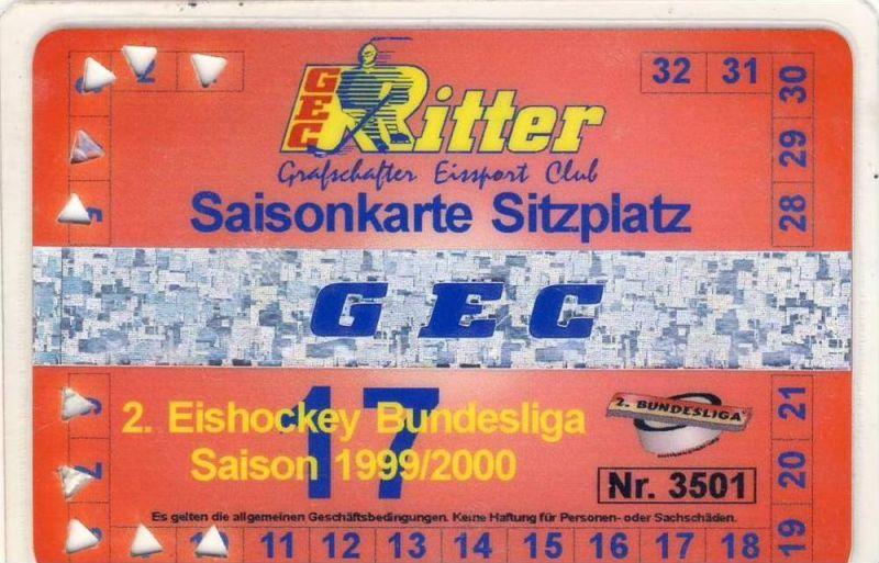 Eishockey --- GEC - Die Ritter - Nordhorn 1999/2000 Saisonkarte 2. Eishockey Bundesliga