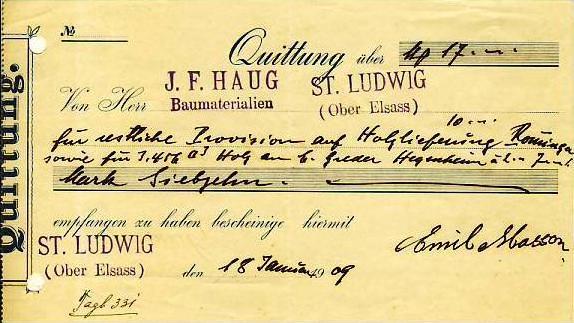 ST. LUDWIG v. 1909 J.F. HAUG Quittung (34445)