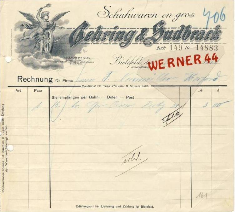 Bielefeld V 1914 Gehring Sudbrack Schuhwaren 161 Nr