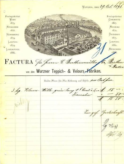Wurzen v. 1898 Teppich & Velours Fabriken ( 222)