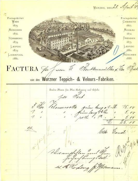 Wurzen v. 1896 Teppich & Velours Fabriken ( 223)