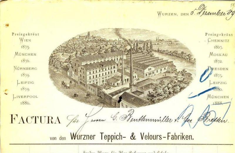 Wurzen v. 1892 Teppich & Velours Fabriken ( 224)