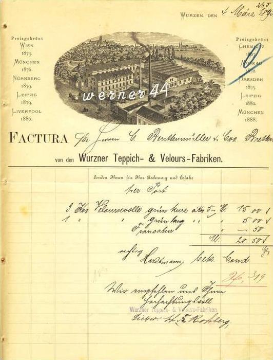 Wurzen v. 1893 Teppich & Velours Fabriken ( 230)