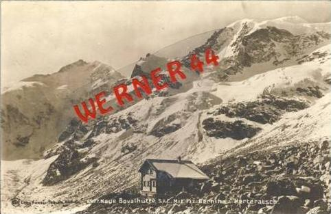 Piz. Bernina & Morteratsch v. 1920 Mit der neuen Bovalhütte (27423)