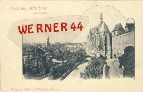 Gruss aus Altenburg v. 1902 Schloß & Teich & Teil Stadt-Ansicht  (27457)