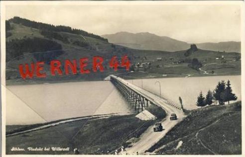 Willerzell v. 1928 Viadukt  am Sihlsee mit alte PKW`s  (63235)