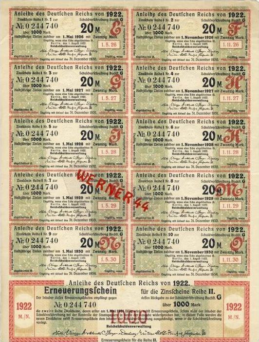 Anleihe des Deutschen Reichs 1000 Reichsmarkvon 1922 mit Zinsscheine