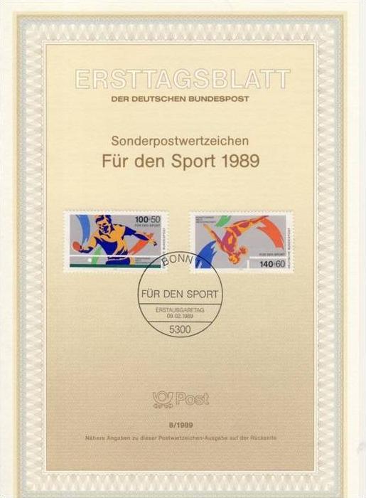 BRD - ETB (Ersttagsblatt) 8/1989 Michel 1408 / 1409 - Sporthilfe, Tischtennis, Kunstturnen