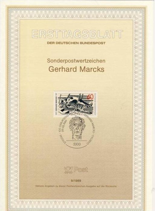 BRD - ETB (Ersttagsblatt) 9/1989 Michel 1410 - Gerhard Marcks