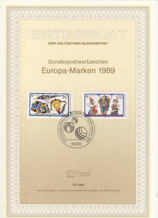 BRD - ETB (Ersttagsblatt) 13/1989 Michel 1417 / 1 - CEPT 1989
