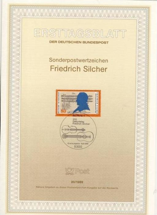 BRD - ETB (Ersttagsblatt) 20/1989 Michel 1425 - Friedrich Silcher
