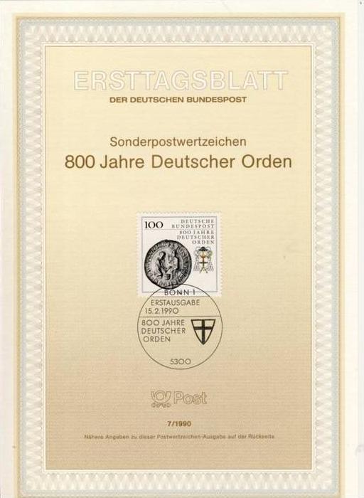 BRD - ETB (Ersttagsblatt) 7/1990 Michel 1451 - 800 Jahre Deutscher Orden