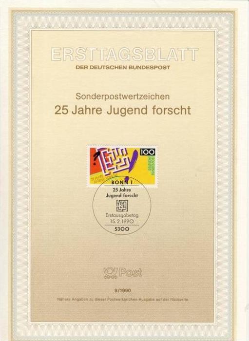 BRD - ETB (Ersttagsblatt) 9/1990 Michel 1453 - 25 Jahre Jugend forscht