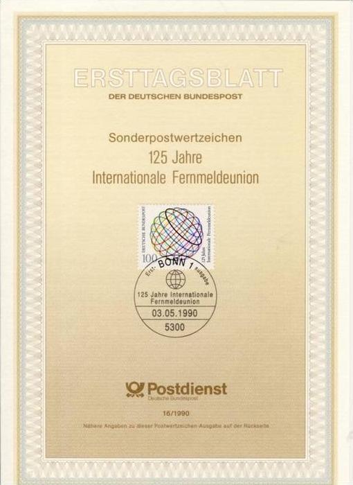 BRD - ETB (Ersttagsblatt) 16/1990 Michel 1464 - 125 Jahre UIT