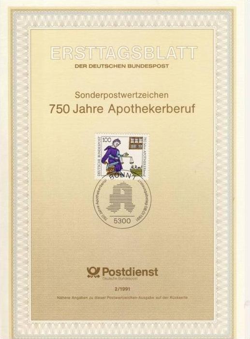 BRD - ETB (Ersttagsblatt) 2/1991 Michel 1490 - 750 Jahre Apothekerberuf