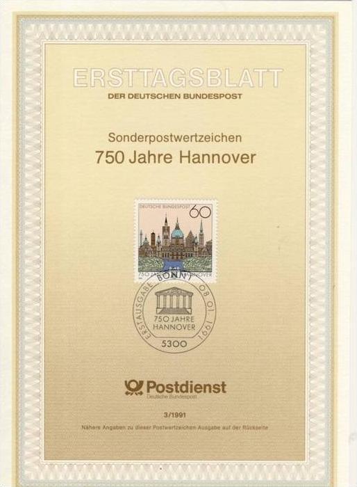 BRD - ETB (Ersttagsblatt) 3/1991 Michel 1491 - 750 Jahre Hannover