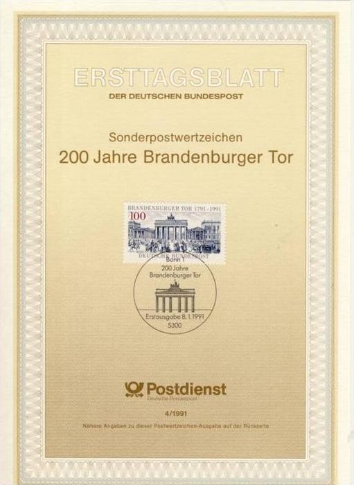 BRD - ETB (Ersttagsblatt) 4/1991 Michel 1492 - 200 Jahre Brandenburger Tor