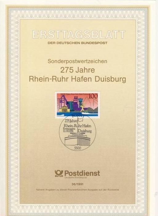 BRD ETB (Ersttagsblatt) 36/1991 mit Michel-Nummer 1558 - 275 Jahre Rhein-Ruhr Hafen Duisburg