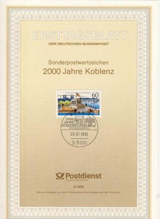 BRD - ETB (Ersttagsblatt) 2/1992 Michel 1583 - 2000 Jahre Koblenz