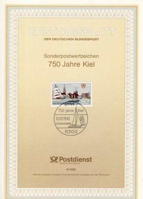 BRD - ETB (Ersttagsblatt) 9/1992 Michel 1598 - 750 Jahre Kiel