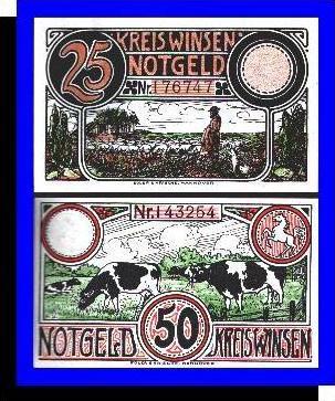 Städte Kleingeldscheine --- Banknoten während der Inflationszeit v. 1923  25, 50 Pfennig - Satz  GUTSCHEIN (N091)