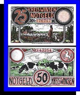 Städte Kleingeldscheine --- Banknoten während der Inflationszeit v. 1923  25, 50 Pfennig - Satz  GUTSCHEIN (N090)