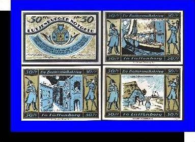Städte Kleingeldscheine --- Banknoten während der Inflationszeit v. 1921  4 x50 Pfennig - Satz  NOTGELD (N086)