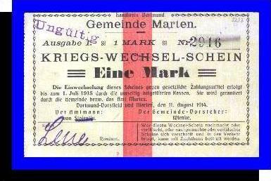 Kriegs-Wechsel-Schein, Gemeinde Marten v. 1914  Eine  Mark -