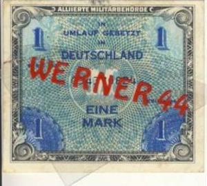 Alliierte Militärbehörde v. 1944   Deutschland 1 Mark.