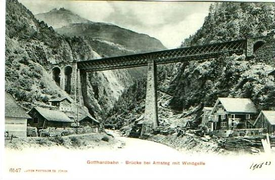 Amsteg v.1912 Gotthardbahn & Brücke & Dorf .(22187)