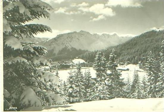 Arosa von 1955 Dorfansicht im Winter (22607-1)