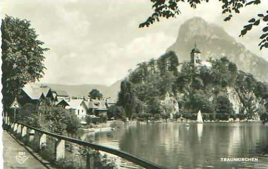 Traunkirchen von 1953 Teil-Dorf-Ansicht ( 22591)