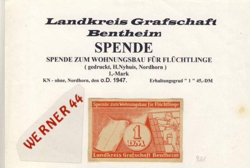 Städte Notgeldscheine -  v. 1947 Landkreis Graf. Bentheim 1 Mark.