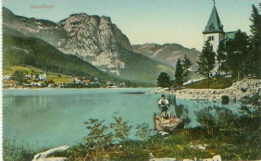 Grundlsee v. 1925  Teil-Stadt-Ansicht & See und Boot  (24512)