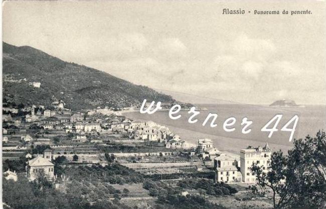 Alassio v. 1912 Panorama da Ponente -- siehe Foto !!  (32699-5)