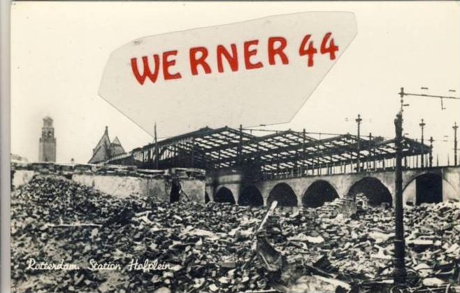 Rotterdam v. 1944  Station Hopfplein - zerstört  -- siehe Foto !!   (35230)