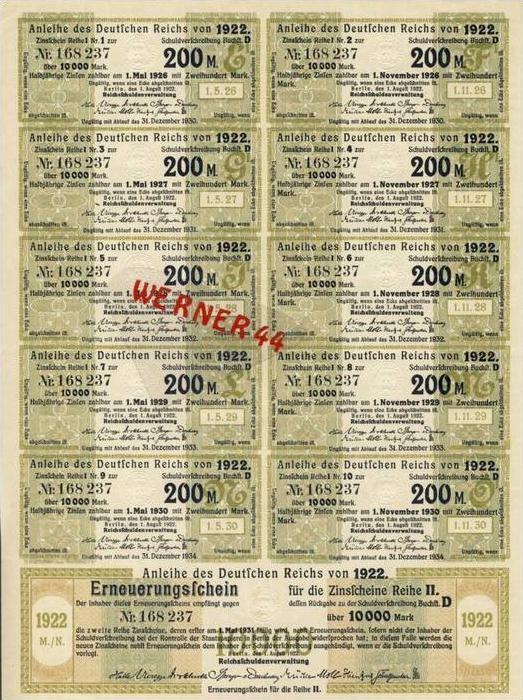 Anleihe des Deutschen Reichs 10000 Reichsmarkvon 1922 mit Zinsscheine (51646)