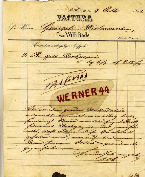 Nordhorn v. 1861  Wilh. Bode --  siehe Foto !!   (107) 0
