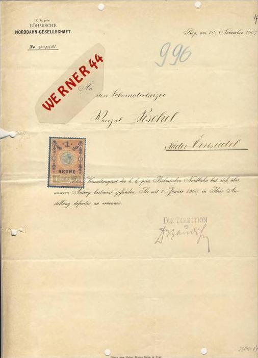 Prag / Nieder Einsiedel  v. 1907 Böhmische Nordbahn Gesellschaft --Anstellung zum Lokomotivheizer --siehe Foto !!  (087)